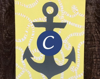 Anchor Painting- initial or monogram added