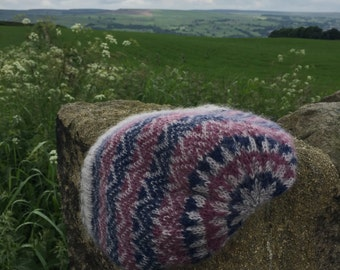Slouchy Fair-Isle beanie, Super-soft Titus yarn