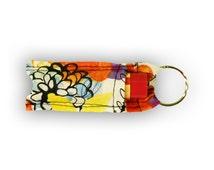 Multi-Colored Flowers Chapstick/Lip Balm Holder Keychain