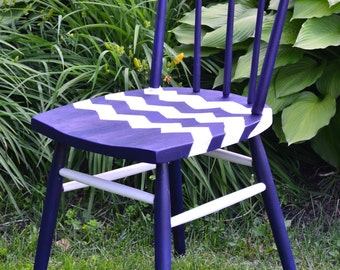 Sailor's Chevron Hand-Painted Chair