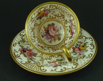 Derby Porcelain Cabinet Cup & Saucer Floral Hand Painted Red Crown Mark Antique