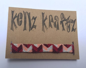 Aztec Geometric Hand-knotted Friendship Bracelet: Maroon, Red, Pink, & White