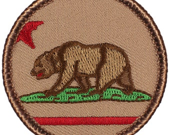"2"" Diameter Embroidered California Bear Patch (521) FREE SHIPPING!"