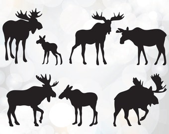 Moose SVG clipart - Baby Moose SVG File - Bull Moose SVG File - Moose Design Set Cutting Template - Bull Moose Silhouette Clip Art svg, eps