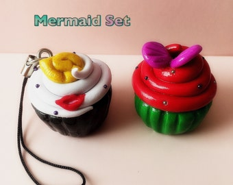 Arielle and Ursula cupcake pendant
