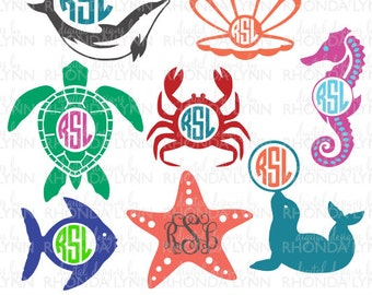 SALE! Sea Life Monogram Cut Files, Sea Turtle svg, Fish svg, Crab svg, Dolphin svg, Starfish svg, Sea Horse svg, Oyster Shell Svg, Seal svg