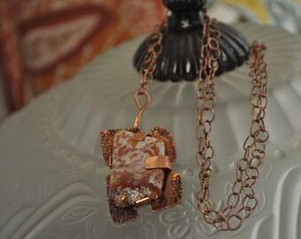 Copper and stone pendant