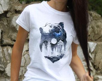 Thunderstorm Tее - Bear T-Shirt - Fashion Tee - White shirt - Printed shirt - Women's T-shirt