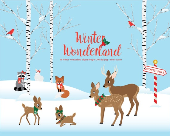winter wonderland clipart woodland animals winter scene rh etsy com winter wonderland clipart images walking in a winter wonderland clipart
