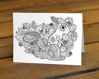 """Black and White Squirrel Coloring Blank Greeting Card 5"""" x 7"""""""