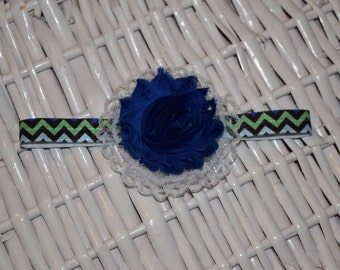 Navy Blue and Green Chevron Headband