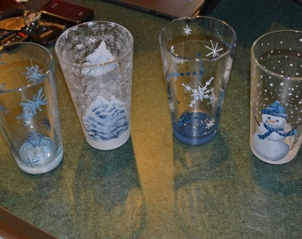 Hand Painted Winter Themed Glasses
