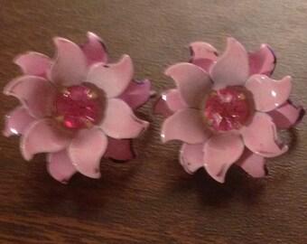 Coro Pink Flower Earrings