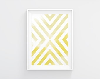 Printable Art Yellow Watercolor Geometric Wall Print, Prinable Art Pink Art Print Poster Apartment Decor Wall Art