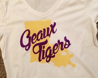 LSU Spirit Shirt//Geaux Tigers Shirt