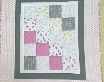 Handmade Quilt, Baby Quilt, patchwork quilt, Girls quilt, Elephant, baby gift, Pink, Grey Cot quilt,