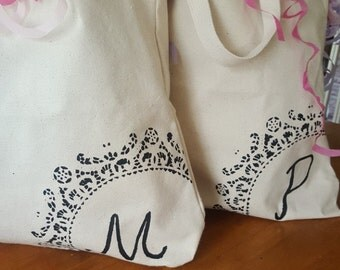 Hand Painted Initial Canvas Bags