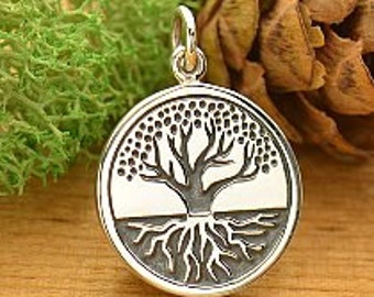 Sterling Silver Etched Tree of life with roots charm pendant A1671