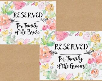 Instant Download: Printable Wedding Pew Reservation Signs - Floral
