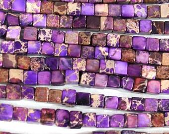 FLO002 Natural purple sea sediment jasper cube 4mm