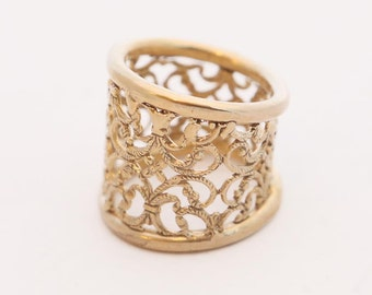 VALENTINES GIFT, Lace Ring, Wide Gold Ring, Gold Ring, Filigree Ring, Intricate Ring, Yellow Gold Ring, Gold Plated Ring, Gift For Her