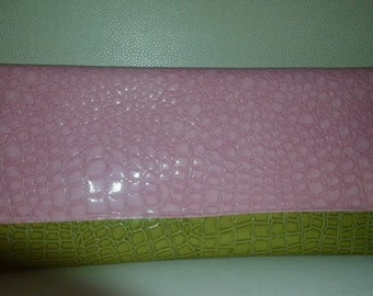 Pink and green envelope clutch