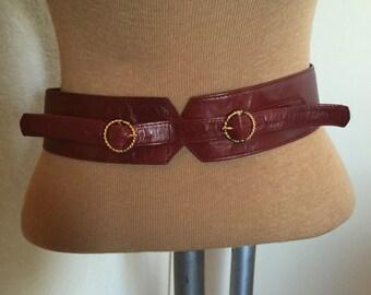Vintage 70s Oxblood Leather Double Buckle Belt