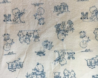 Printed Cotton Flannel Fabric of White and Blue Nursery Rhymes, dr#82