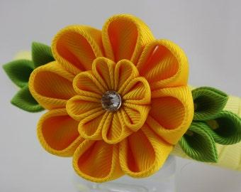 Kanzashi Yellow Ribbon/Fabric flower headband