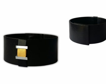 Black and white genuine Leather Bracelet women