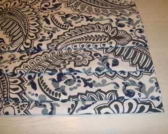Indigo Navy Charcoal Blue Grey Paisley Faux Roman Shade Valance Window Treatment Bedroom Bathroom Laundry Kitchen Office