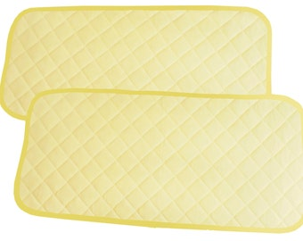 Bamboo Changing Pad Liners Waterproof Washable  Protector For Diaper Change Pad  Travel Changing Mat  2 pieces  (Light Yellow Color)