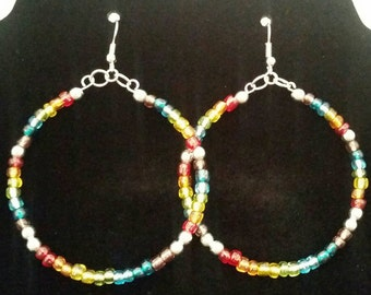 LGBT Parade Inspired Seed Bead  Hoops