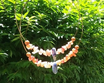 Giant Brass Hoops with Amethyst and Coral