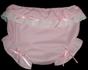 Adult bABy Sissy Diaper Cover Pink / Panties ? Bloomers gingham