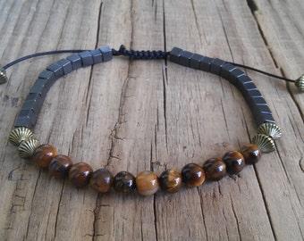 Natural tiger eye hematite stone bead bracelet – black hematite brown tiger eye crystal bracelet mens – feng shui power healing bracelet