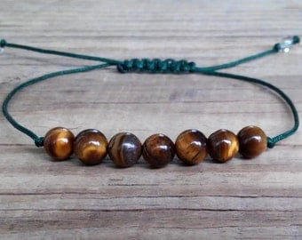 Brown tiger eye bracelet tiger eye stone bracelet power positive energy healing depression attract money intuition yoga minimalist bracelet
