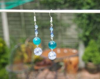Blue Mermaid Bead Earrings