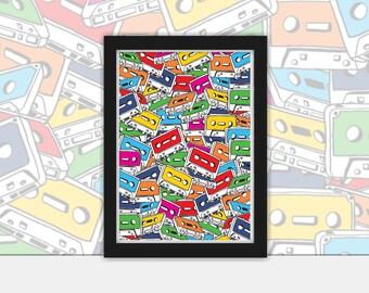 Tape Deck  vector art Poster - Vintage, Pop Art, Print, Framed in Black A4 or A3