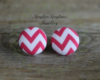 19mm Pink & White Zig-Zag Fabric Button Stud Earrings