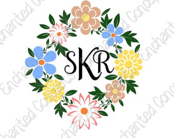 Floral Wreath SVG, Wreath Monogram Frames,  Personalize, Flower svg, Cricut, Silhouette, svg, eps, dxf, png, cutting plotter files,