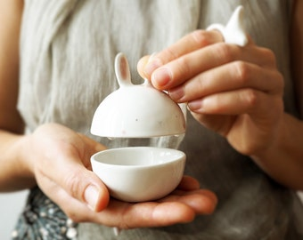Ceramic Sugar Bowl, Cute Sugar bowl, Cute Jewel Case Rabbit Pottery, Rabbit Clay Box, Kawaii Ceramic, Cute Gift. Italian clay, colored glaze