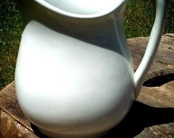 Stone China Harker pitcher, white ironstone, farmhouse pitcher, stone China pitcher, shabby chic, antique, vintage, China pitcher