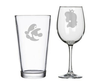 8 bit gamer his and hers etched wine/pint glasses, Player 1 Player 2, geeky wedding gift, gaming gamer presents, bridal shower, video games