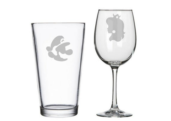 8 Bit Gamer His And Hers Etched Wine Pint Glasses Player 1