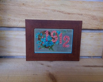Vintage Happy New Year 1912 postcard in wooden frame