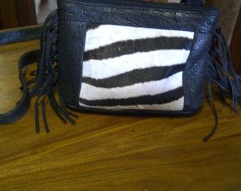 Ladies handbag with zebra furtan inlay