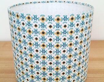 Handmade Fabric Lampshade. Teal and Mustard Geometric Pattern.