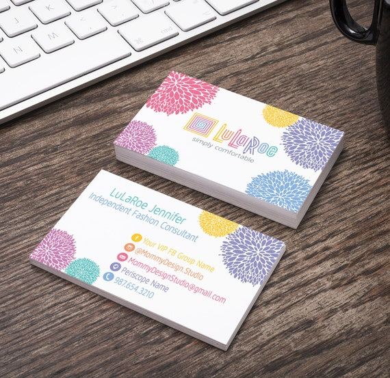 Lularoe business card white colored pom pom by for Lularoe buisness cards