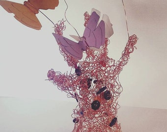 Copper Wire Hand with Butterflies